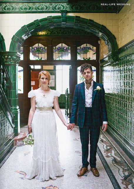 love this British couple and the tartan suit for their wedding, via decor8, Mollie Makes wedding magazine.