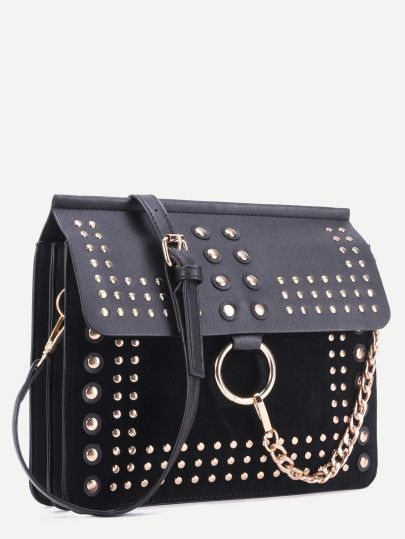 Black Studded Flap Crossbody Bag
