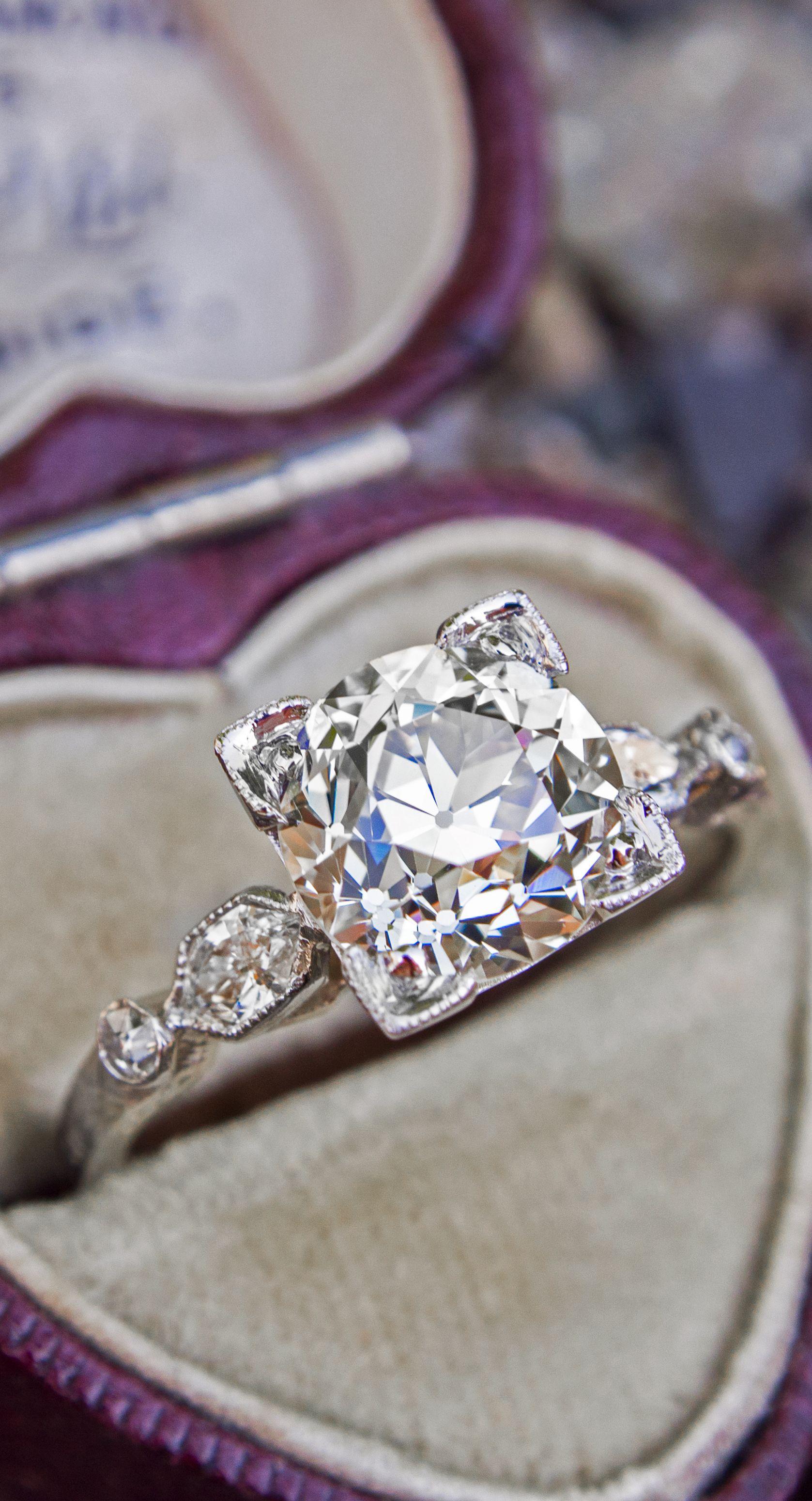 Us antique engagement ring carat old european cut diamond