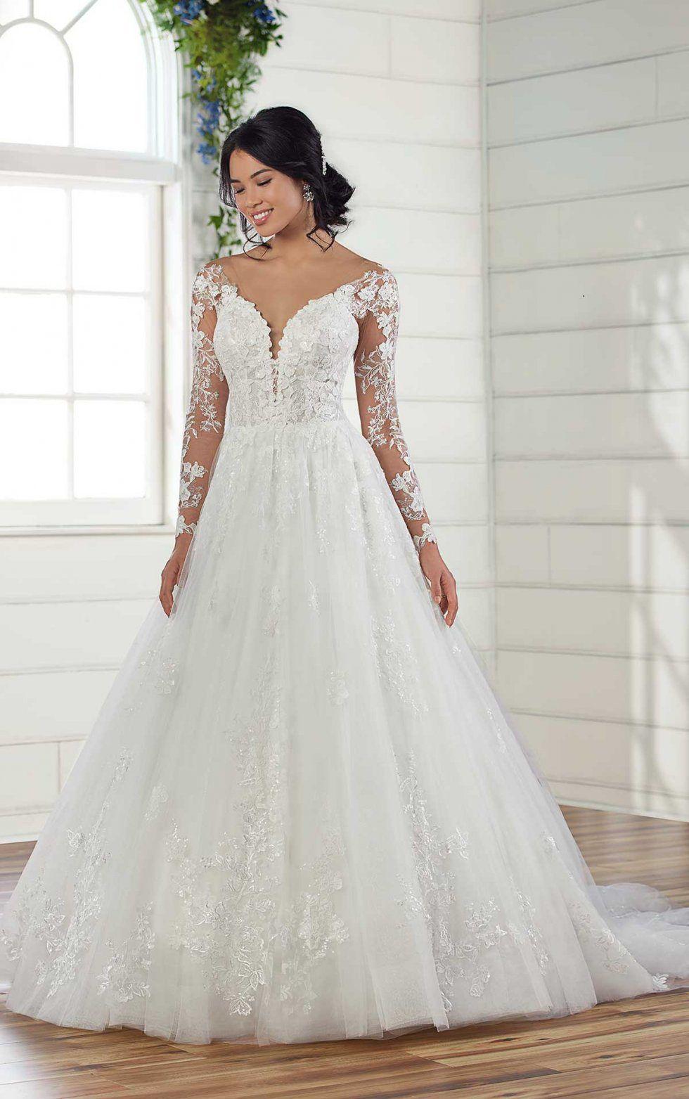 Wedding Dress Style D2939 Essense Of Australia Wedding Dresses Lace Ballgown Lace Wedding Dress With Sleeves Long Sleeve Wedding Dress Lace [ 1563 x 980 Pixel ]