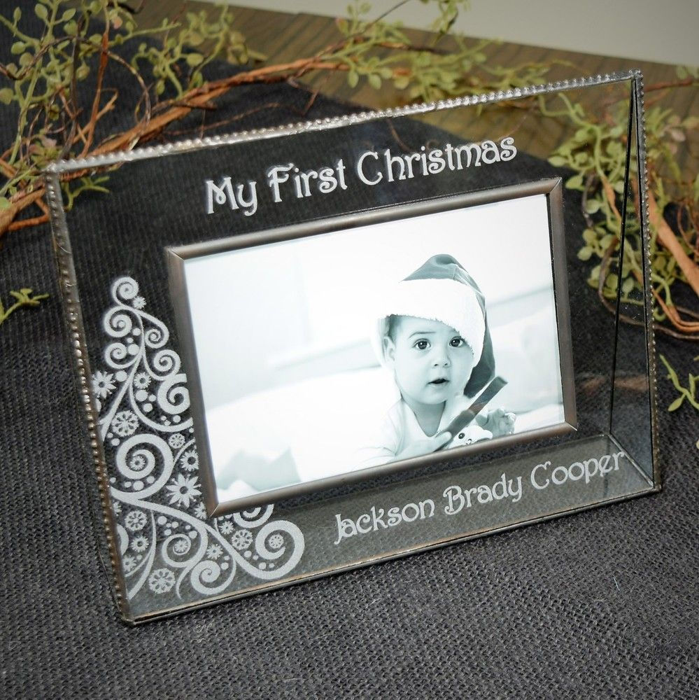 Personalized Gifts-J Devlin Glass Photo Frame-Baby\'s First Christmas ...