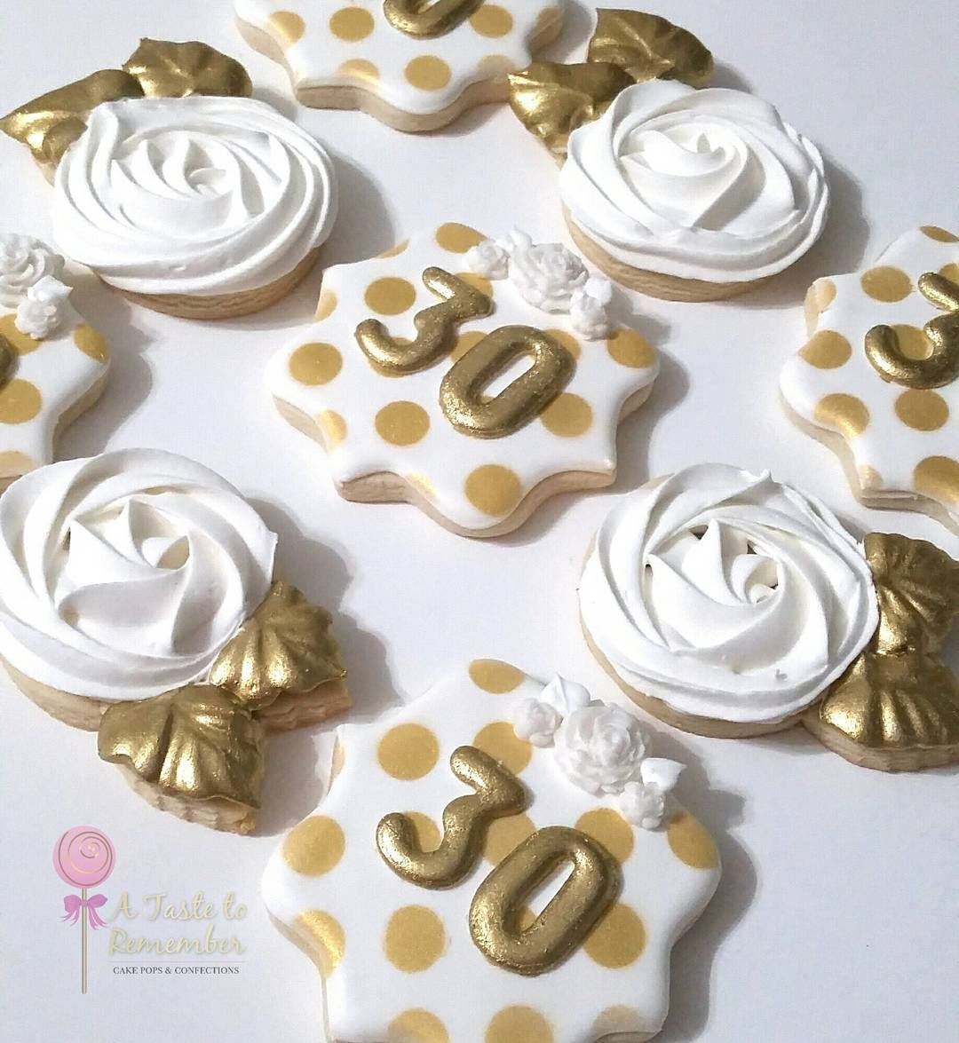 Kate Spade Inspired 30th Birthday Sugar Cookies In Gold