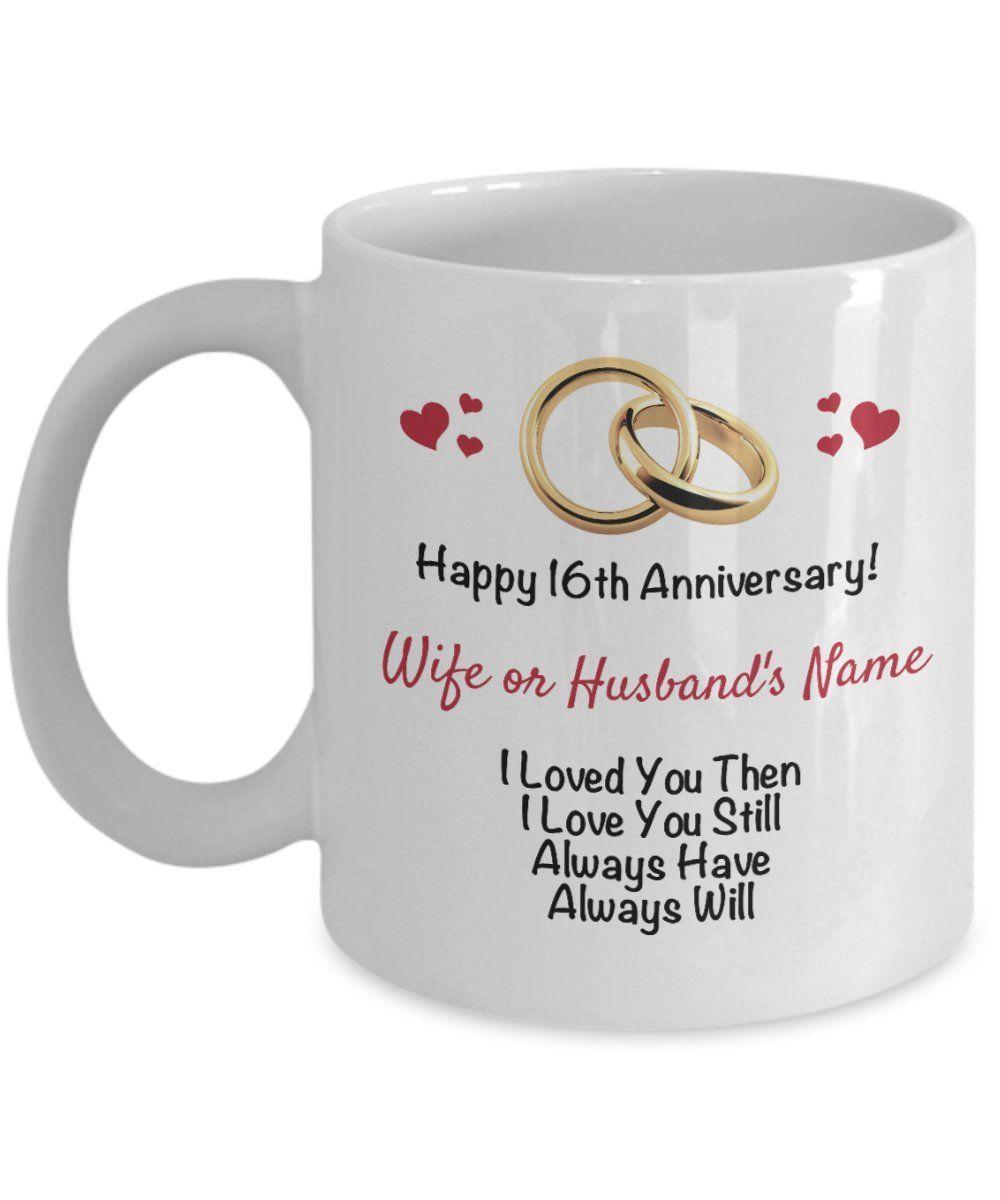 Personalized 16th Anniversary Mug Wife Husband 16 Years ...