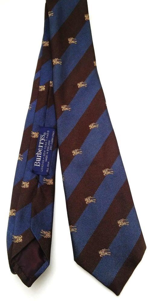 43cbb6005a72 Vintage Burberrys Equestrian Knight Logo Mens Silk Striped Brown Blue Neck  Tie #Burberry #Tie