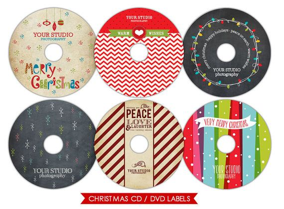 instant download christmas cd labels photoshop templates simple