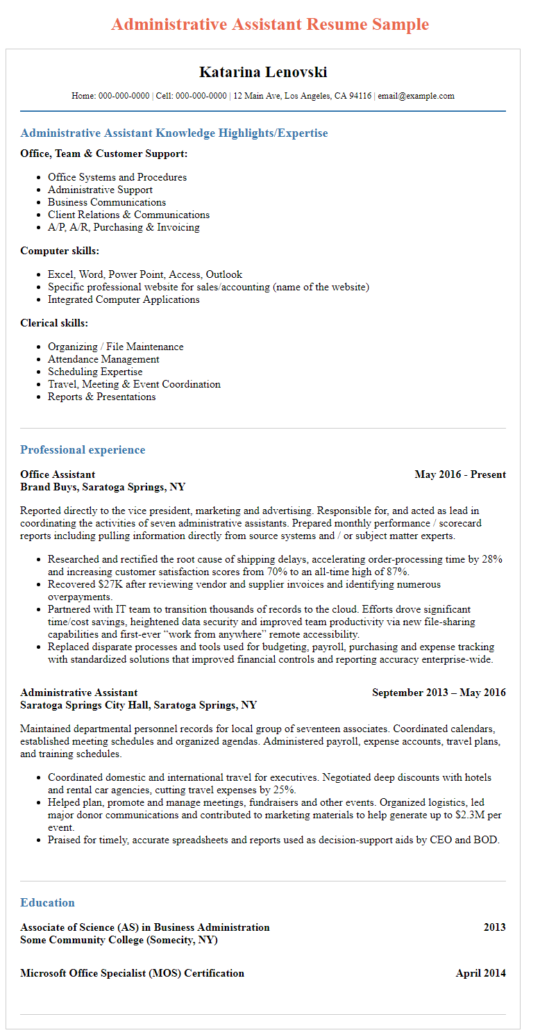 Administrative Assistant Resume Samples Unique Administrative Assistant Resume Sample  Resume Sample  Pinterest .