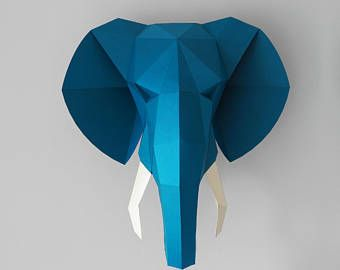 Elephant Head Paper 3d Wall Art Pdf Pattern Wall Decor Printable Low Poly Template Faux Taxidermy Paper Trophy Wall A 3d Wall Art Elephant Head Paper Sculpture