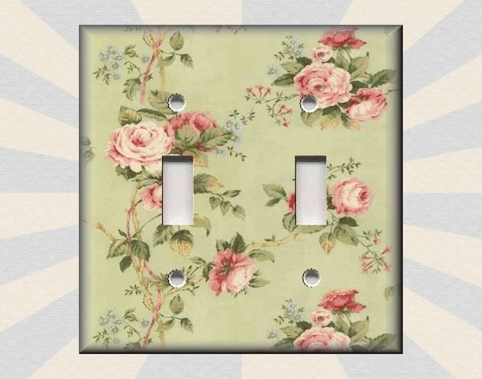 Metal Light Switch Plate Cover - Floral - Pink Roses On Green Shabby ...
