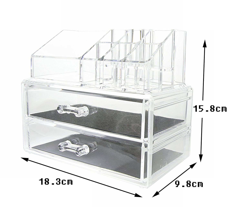 Organizador Maquillaje Caja Cosm Ticos Transparente 2 Cajones  ~ Organizador De Joyas Para Cajones