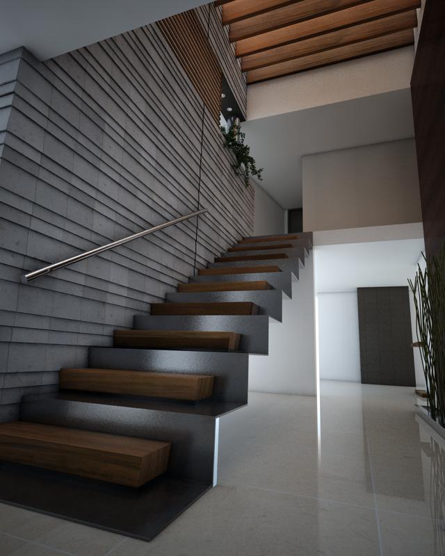 La escalera doble, con estructura de acero, escalon de ...