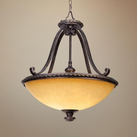 Pendant Lights Over Large Island Seating Amber Scavo Glass Wide Bowl Light