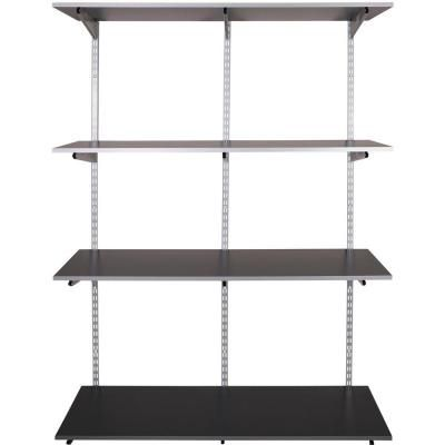 Rubbermaid Fasttrack Garage 4 Shelf 48 In X 16 In Laminate Shelving Kit With Rail 1937613 The Home Depot Shelving Wall Shelving Systems Shelves