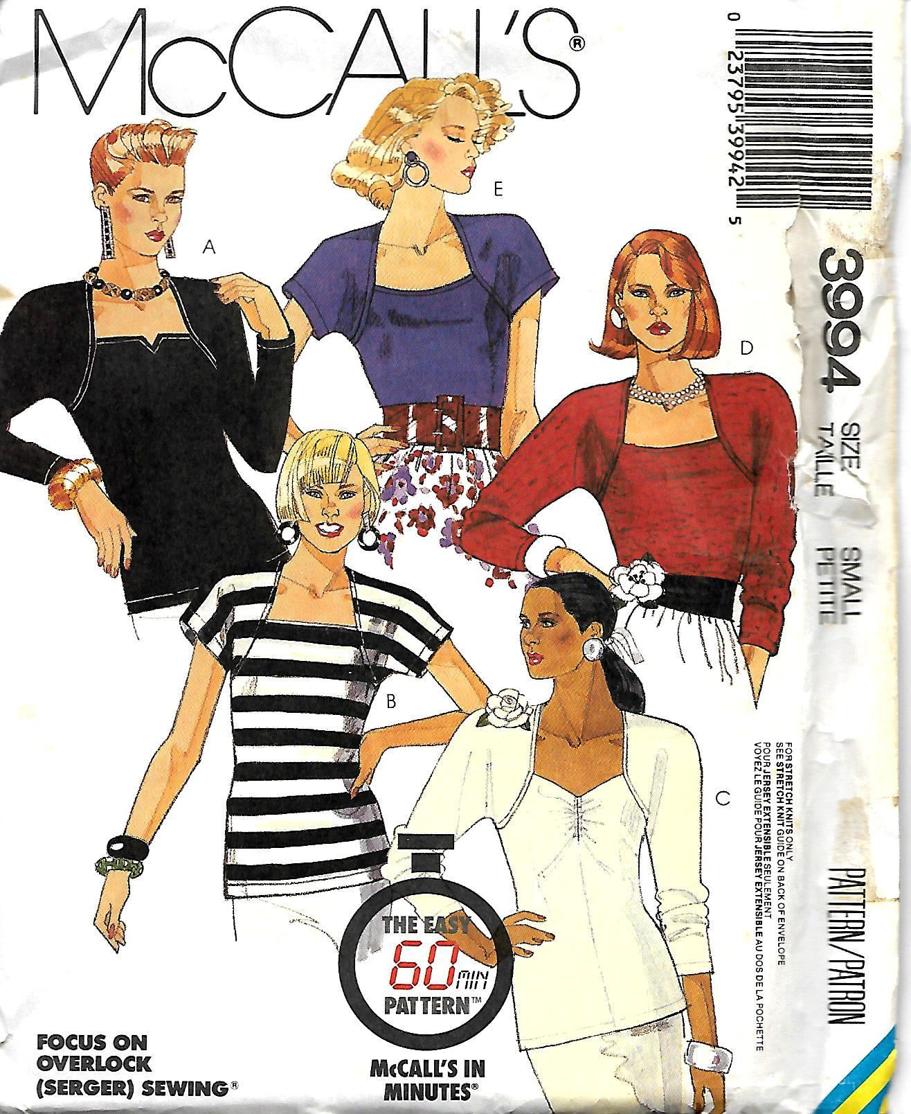 McCall's 3994 60 Minute Pattern, Misses Stretch Knit Tops , Size Small,  UNCUT by DawnsDesignBoutique on Etsy