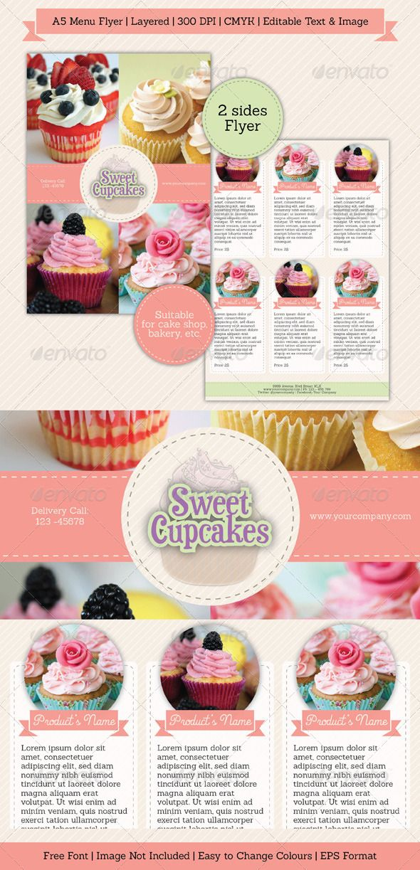 Sweet Simple Menu Flyer Cake Shop Patisserie And Bakeries