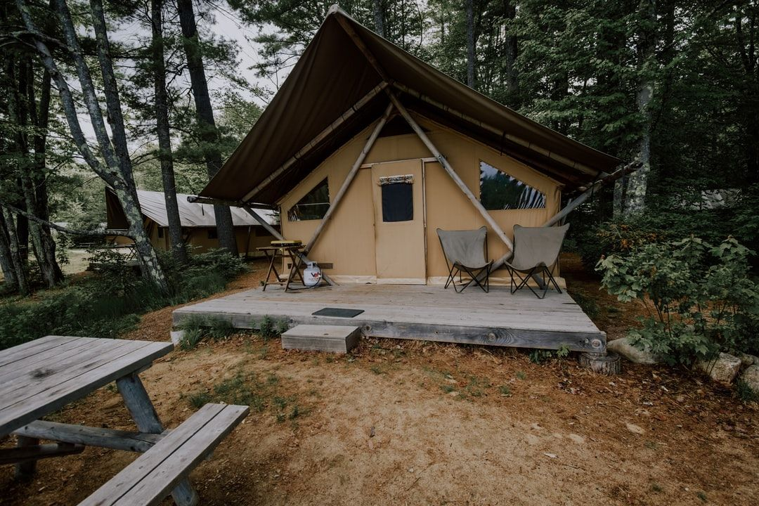 Canvas glamping tent on the lake in New Hampshire ...