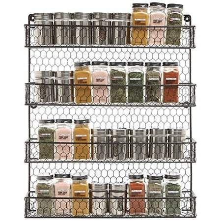 Nice  Great Metal Spice Rack Kitchen Wall Mount 4 Tier Metal Wire