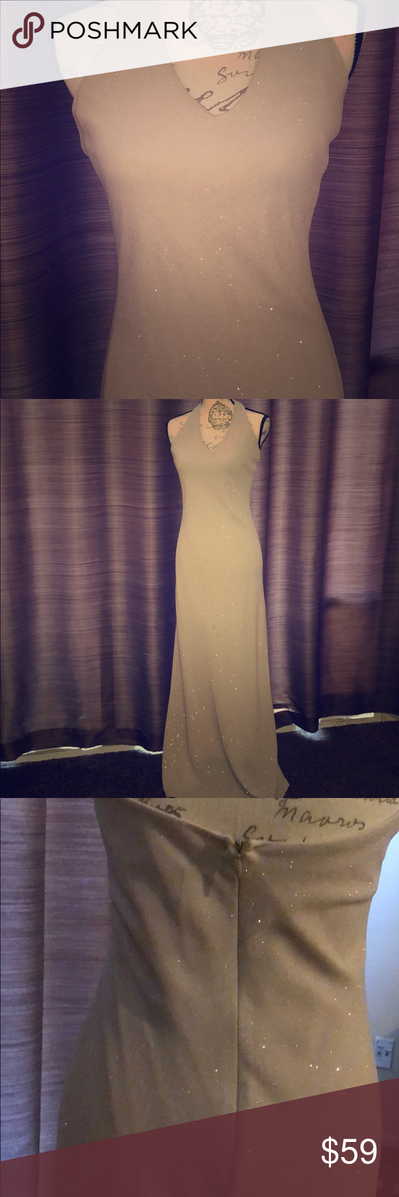 Beautiful cream/ taupe shimmer evening gown Gorgeous floor length cream color wi…