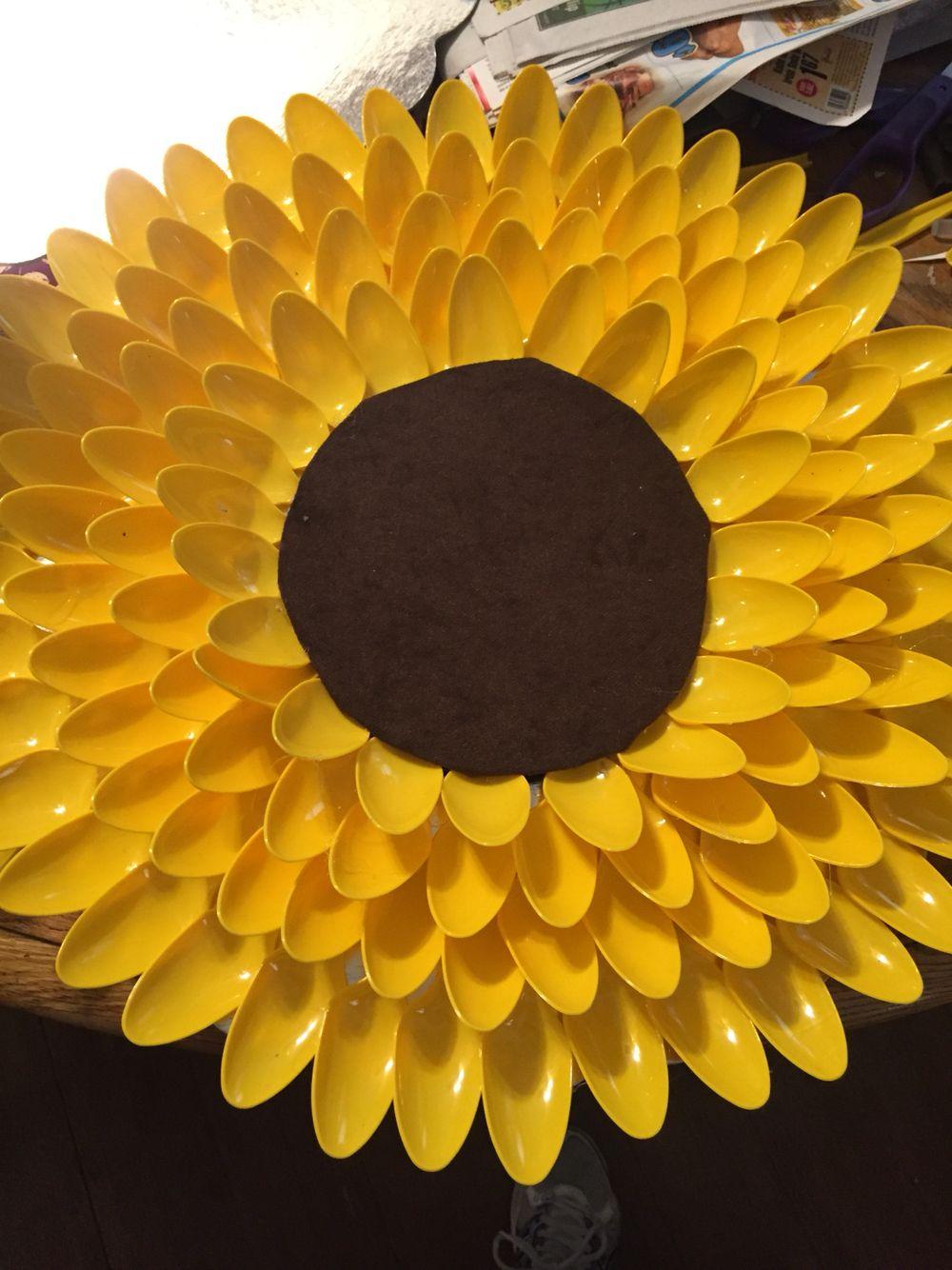 100 Plastic Spoons Sunflower Wreath Plastic Spoon Crafts