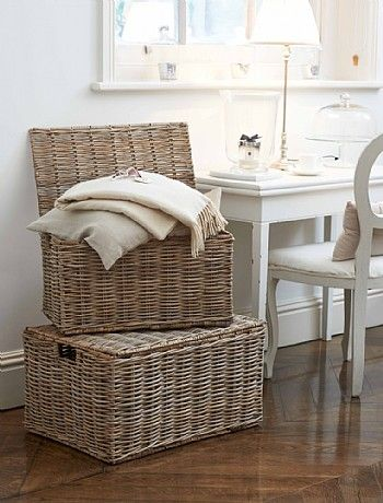 Large Grey Rattan Trunk With Hinged Lid