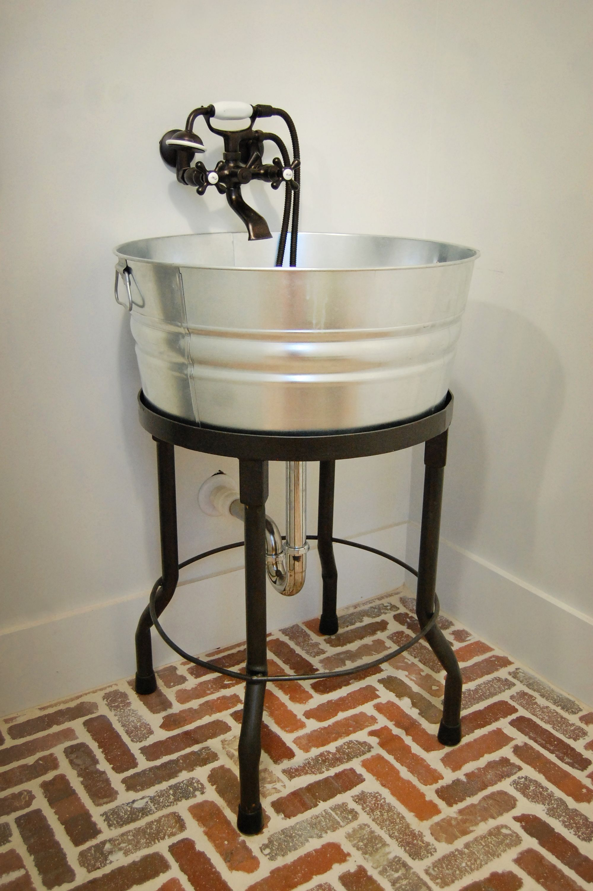 Custom Made Galvanized Tub Laundry Sink Designed By The