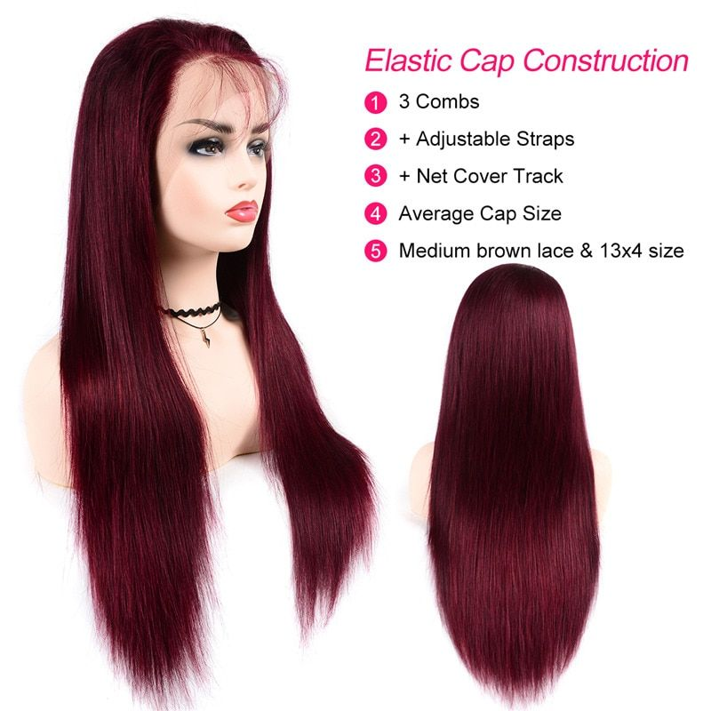 c1f23437686 Burgundy Lace Front Wig Human Hair 13x4 Front Ombre Wig 99j Straight  Brazilian Wigs Pre-Plucked With Baby Hair 150 Density Remy Hair Ombre Human