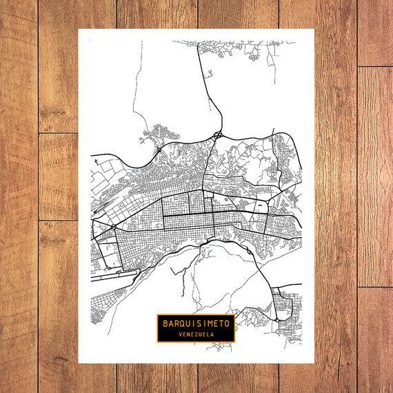 BARQUISIMETO Venezuela CANVAS Large Art City Map Barquisimeto