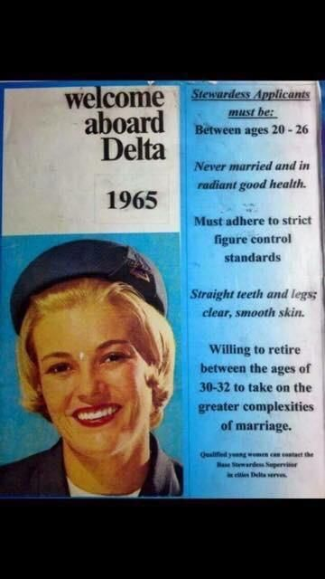 Delta Airlines 1965 Stewardess Application Pilot humor