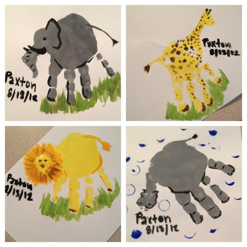Little mans handprints (elephant, giraffe, lion, and hippo!)