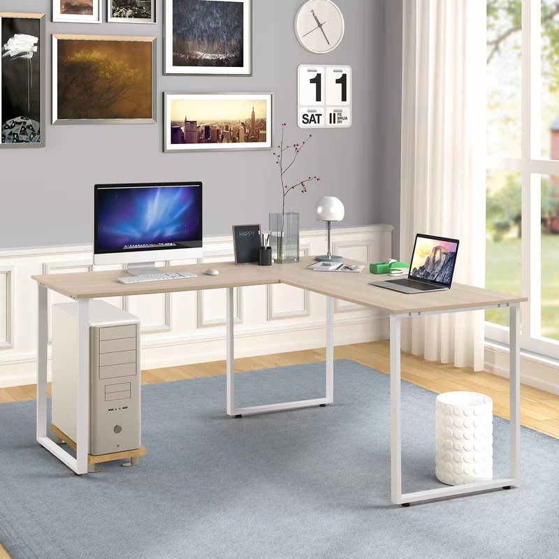 Emelie L Shape Computer Desk In 2020 L Shaped Desk Office Desk L Shaped Executive Desk