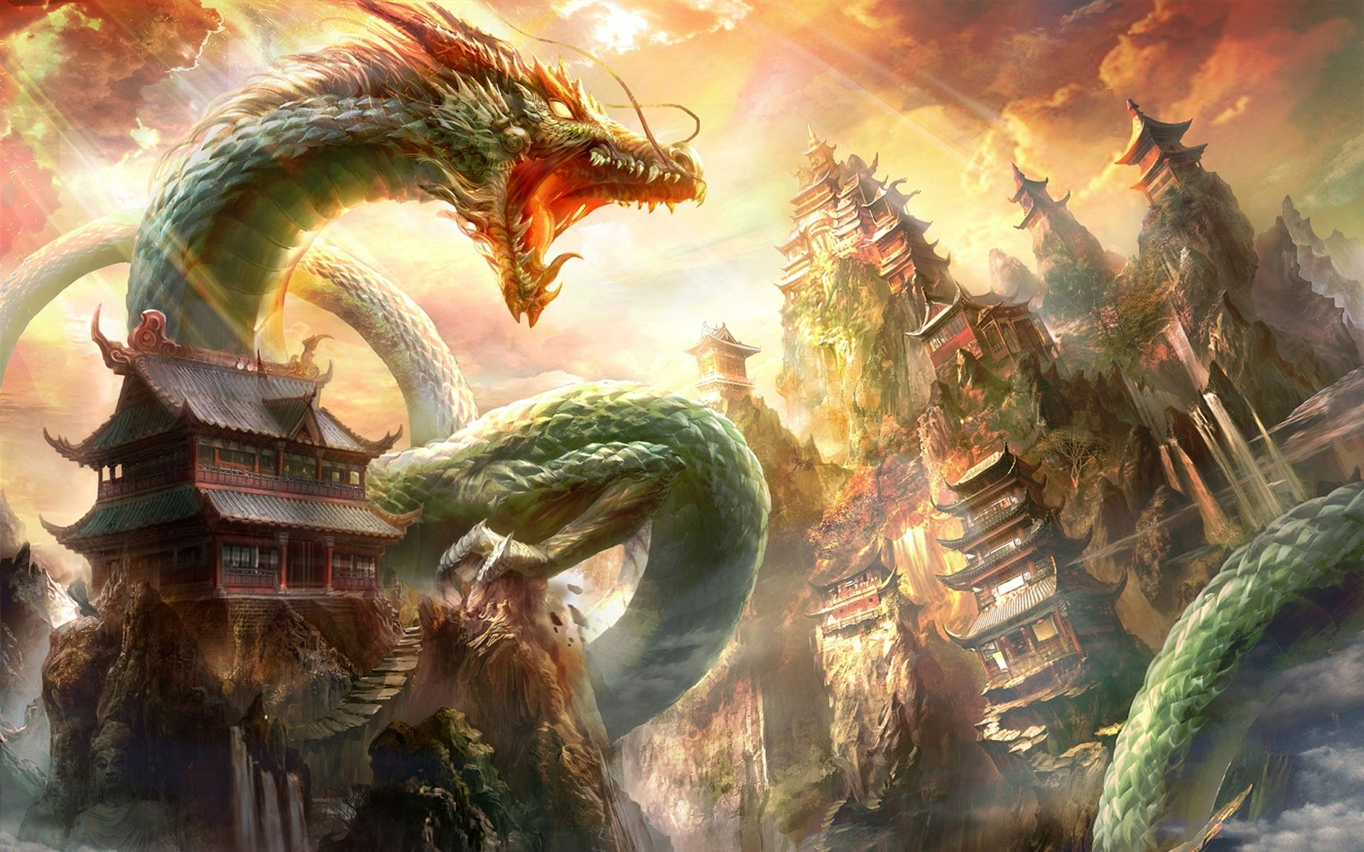 fantasy oriental dragon asian castle city wallpaper | fantasy