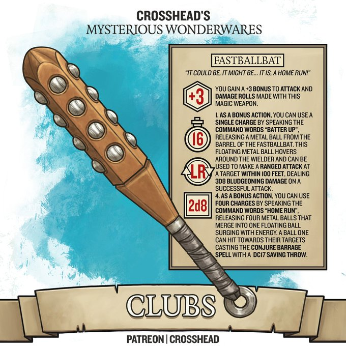 Homebrew Magic Baseball Fastball Bat Club Legendary Magic Items For D D 5e Dungeons And D Dungeons And Dragons Homebrew Dnd Dragons D D Dungeons And Dragons