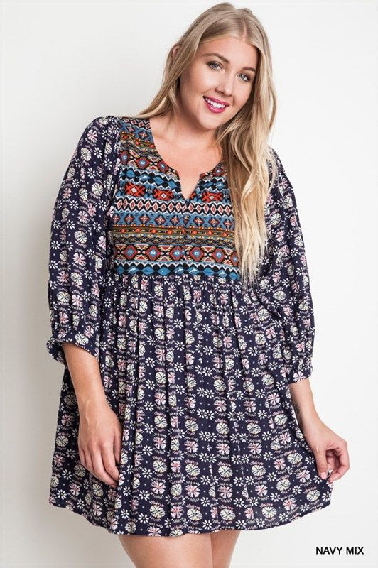 Plus Size Babydoll Sleeve Dress Navy | Plus dresses, A line and ...
