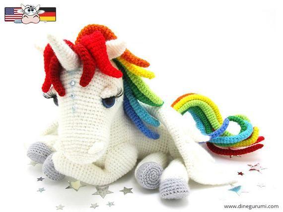 regenbogen einhorn  amigurumi häkelanleitung  pferd