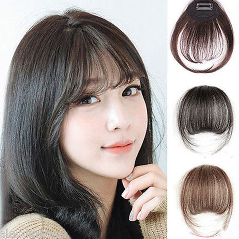 2.86AUD - Korean Women Clip In Front Fringe Extension Straight Hair Air  Neat Bang  ebay  Fashion a0bb342cf5