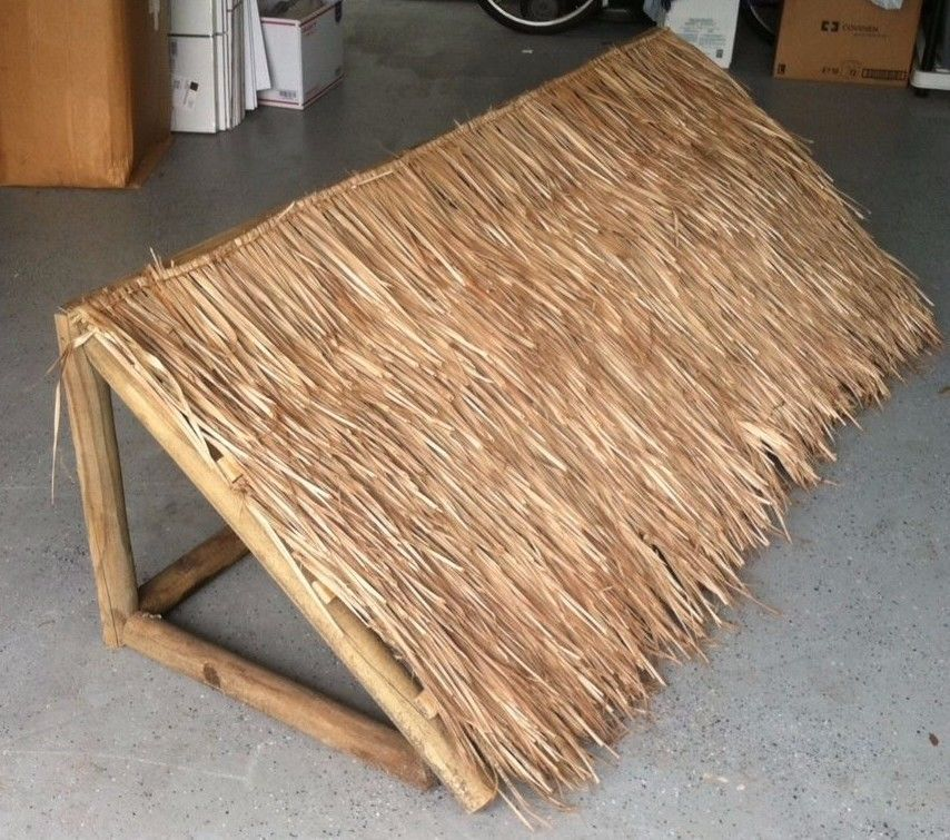 Two Thatched Wooden Awnings Tiki Bar Or Tiki Hut Fire Retardant Tiki Bars Diy Tiki Hut Outdoor Tiki Bar
