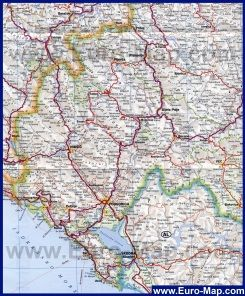 Карта Черногории с городами