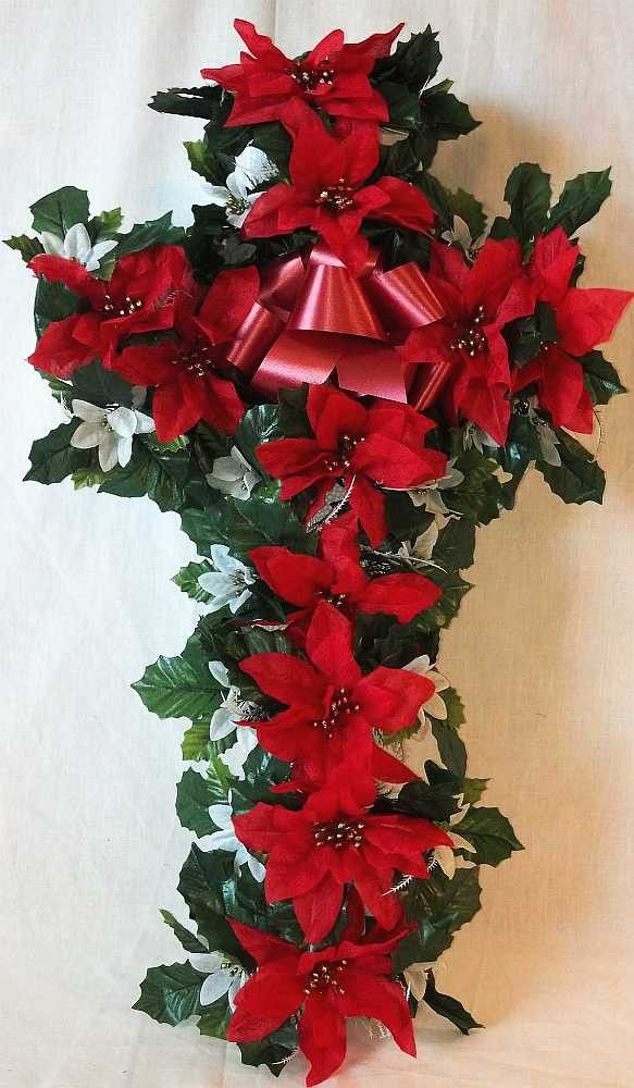 Christmas Poinsettia Cross Christmas Floral Arrangements Xmas Flowers Christmas Flowers