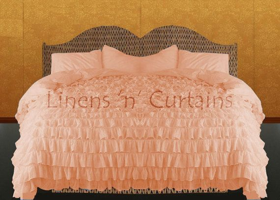 Peach Ruffle Bedspread Set Egyptian Cotton Bedding