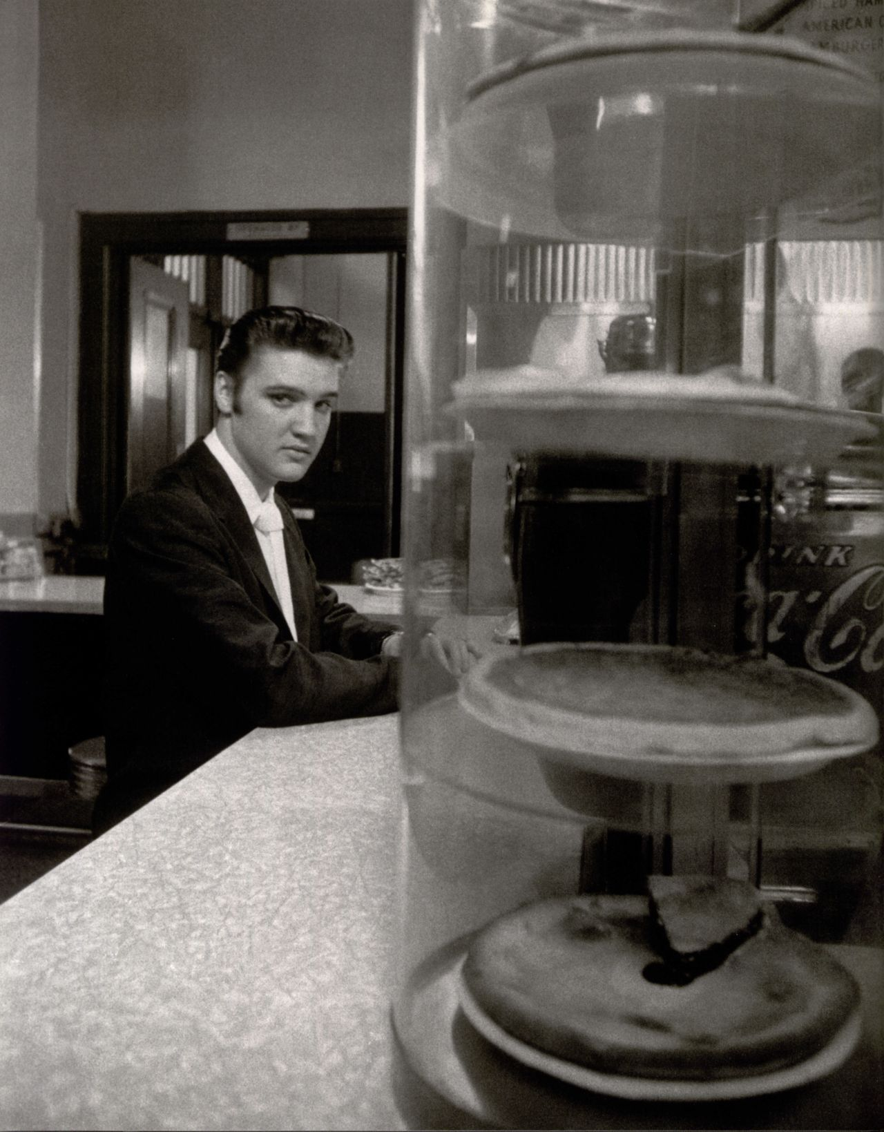 Elvis at a malt shop '56