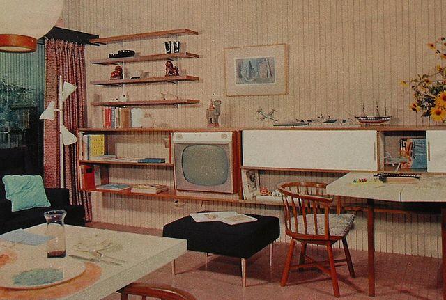 1950s tv rec room lounge den vintage interior design photo | my
