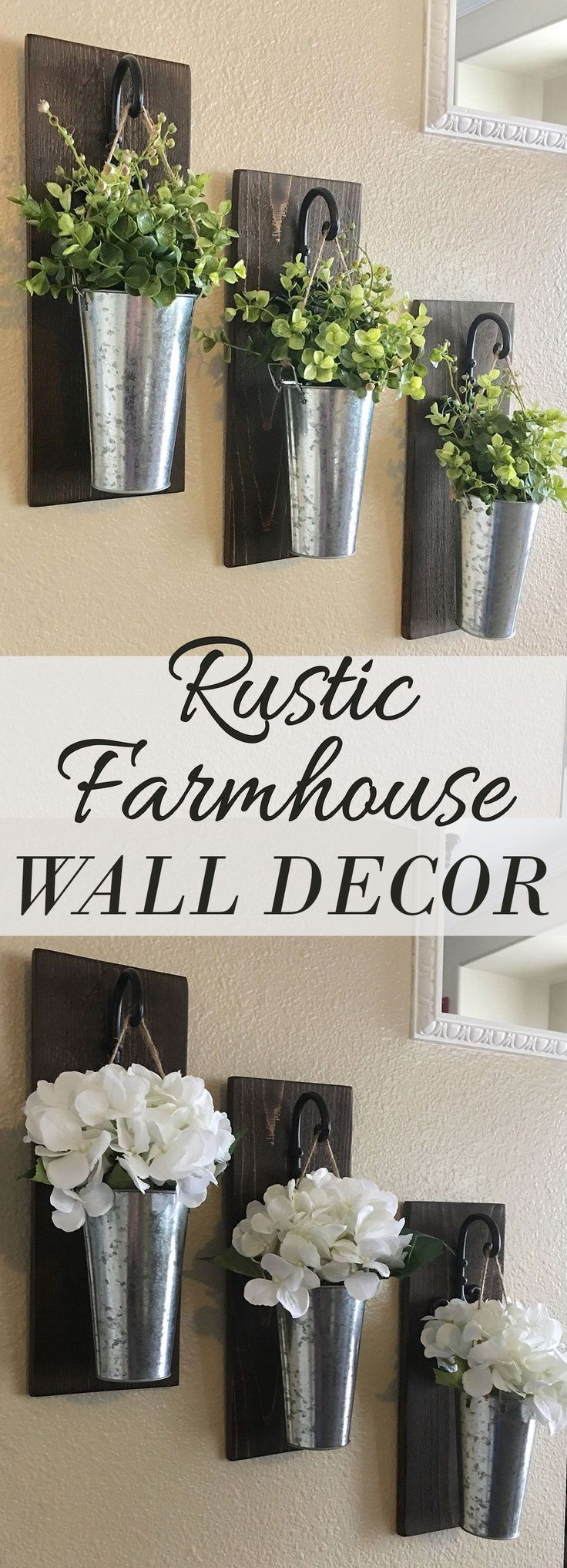 Rustic Wall Decor, Rustic Decor, Farmhouse Wall Decor, Wall Decor, Home Decor, Galvanized Wall Decor, Metal Wall Decor, Hanging Planter These hanging planters are so neat! They would look fantastic on my entryway wall as well as in my dining room or living room. I love rustic farmhouse decor! Great and easy to make DIY project for the home and looks really beautiful!