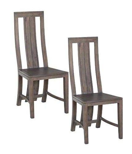 Lot De 2 Chaises Moderne Bois Acacia Grise BOREAL GRIS