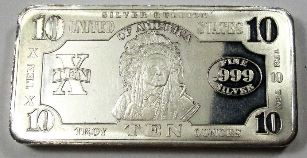 Ten Troy Ounce Indian Chief Scpm 10 Oz 999 Fine Silver Bar Silver Bars Valuable Coins Fine Silver