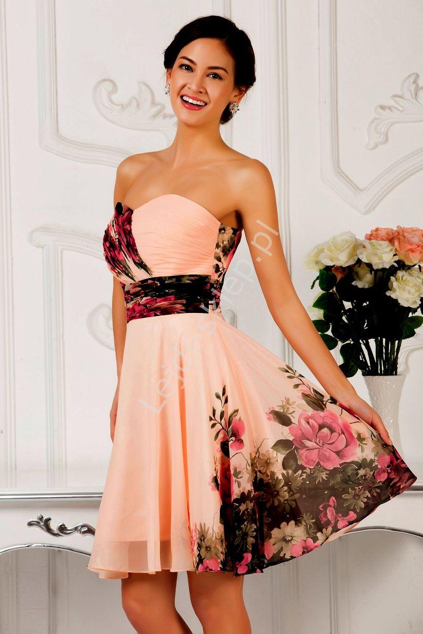 Kwiatowa Sukienka Dekolt W Serduszko Kwiatowe Sukienki Na Wesele Chiffon Bridesmaid Dresses Short Simple Homecoming Dresses Chiffon Dress Short