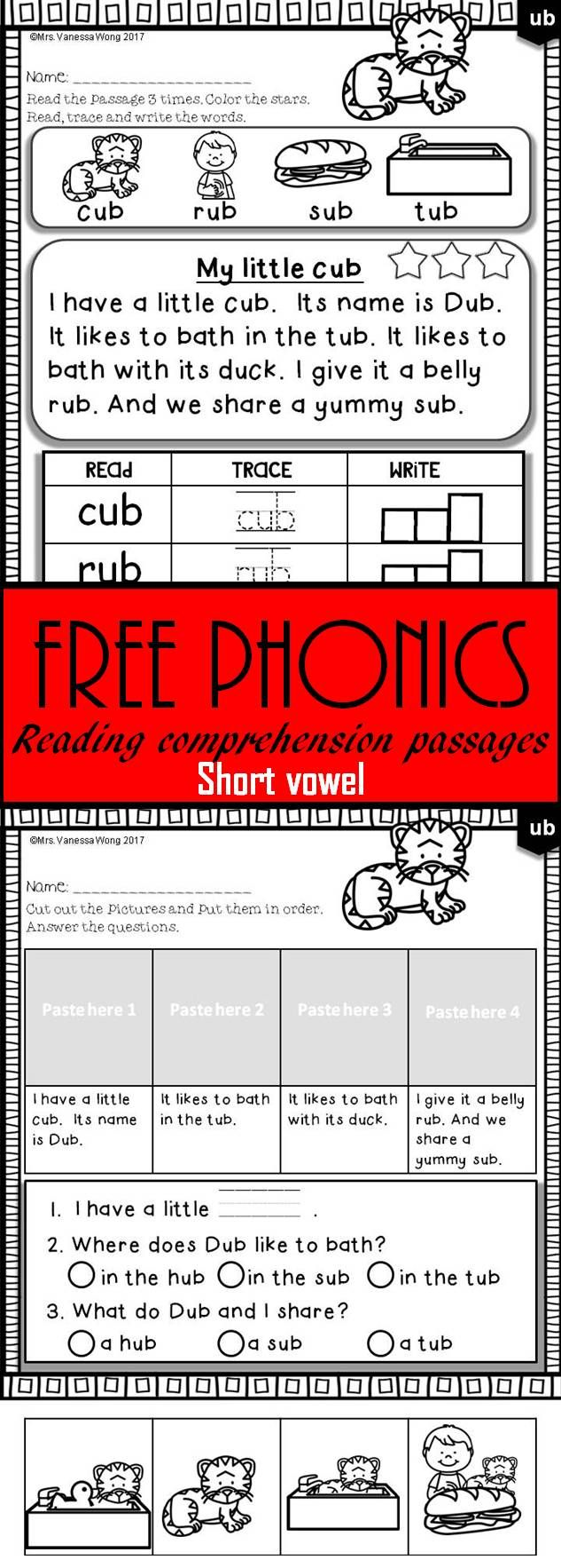 Free Phonics Activities And Passages For Vocabulary Fluency And Reading Comprehension And Story Sequence Phonics Free Phonics Reading Reading Comprehension [ 1766 x 633 Pixel ]