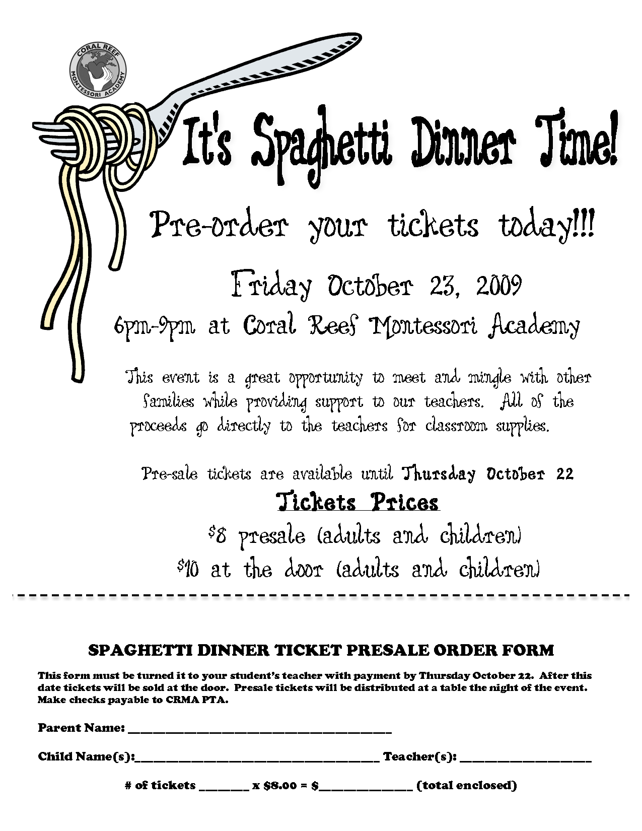 Spaghetti Dinner Ticket Template | SPAGHETTI DINNER TICKET PRESALE ORDER  FORM  Dinner Tickets Template
