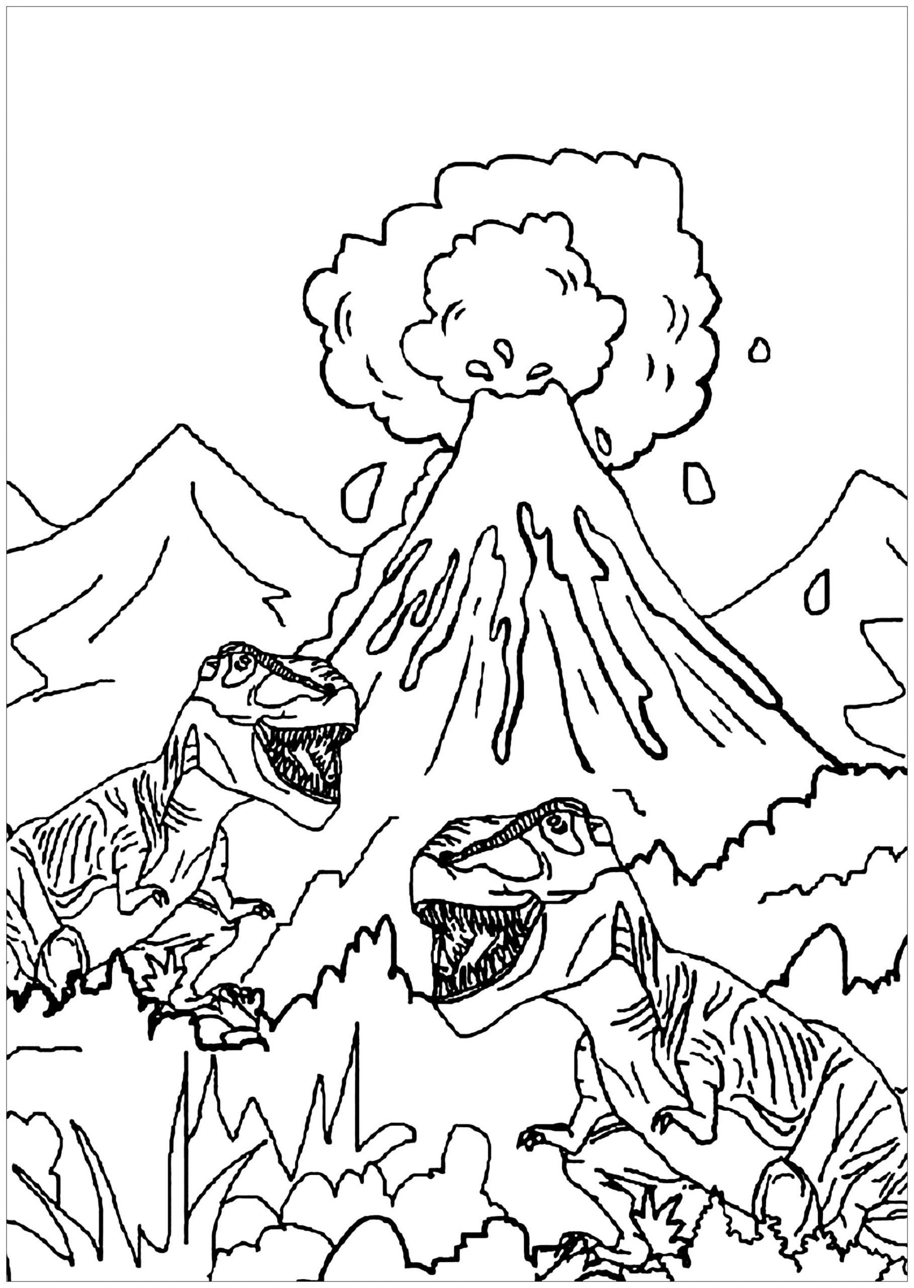 Coloring Pages For Kids Dinosaurs Dinosaurs To Print For Free Dinosaurs And Volcano Dinosaur Coloring Pages Dinosaur Coloring Cartoon Coloring Pages