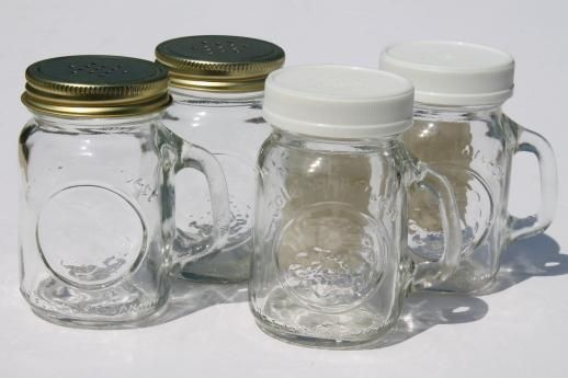 Vintage Mason Jar Spice Jars Or S P Shakers Mini Mason Jar Mugs W Shaker Lids Glass Mason Jars Mason Jars Country Western Wedding