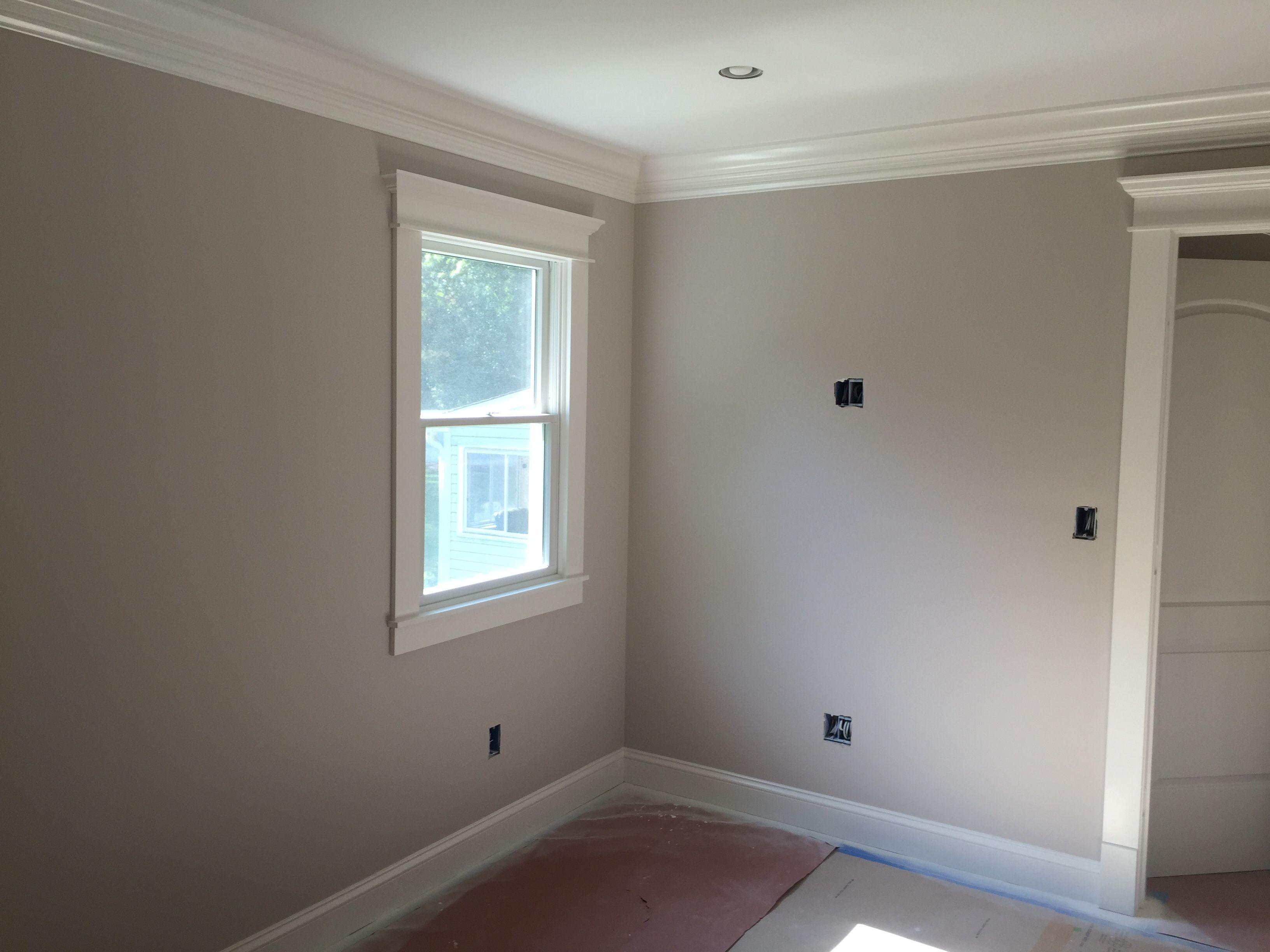 Baby Room Walls Bm Matte Balboa Mist Trim Bm Semi Simply White Painting Trim White Paint My Room Farmhouse Guest Bedroom