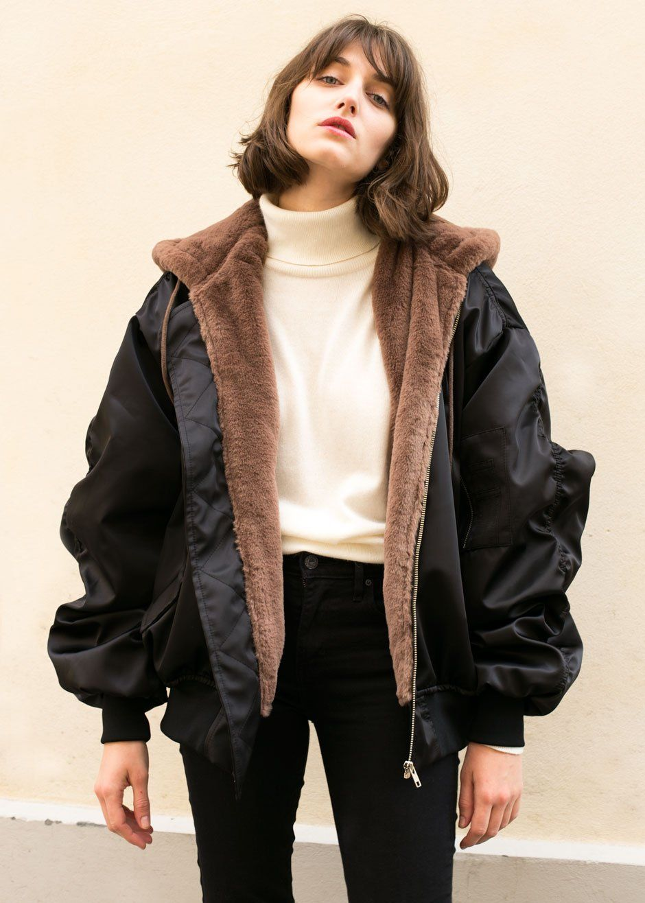 Faux Fur Hooded Bomber Jacket The Frankie Shop Bomber Jacket Hooded Bomber Jacket Jackets [ 1316 x 940 Pixel ]